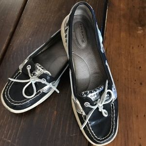 Sperry topsiders Black patent silver w houndstooth